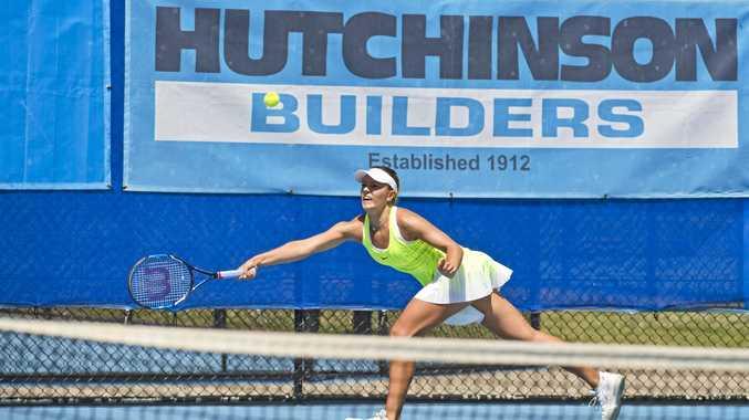 Dalma Galfi on her way to a Toowoomba International semi-final win at Toowoomba Regional Tennis Centre - USQ today.