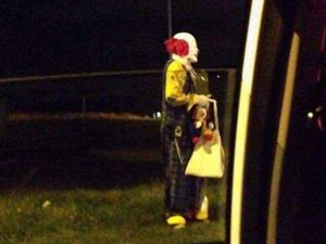 Clown with 'fire crackers' approaches car