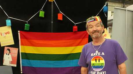 Michael Leeson, a volunteer with Qlife, had a stall to support the LGBTIQ community.