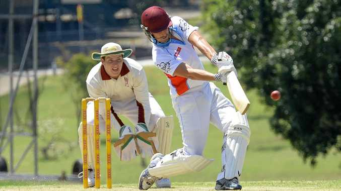 Swifts batsman Joel Hall hits a six during his team's opening victory of the new season. Ipswich competition champions Laidley also started impressively.