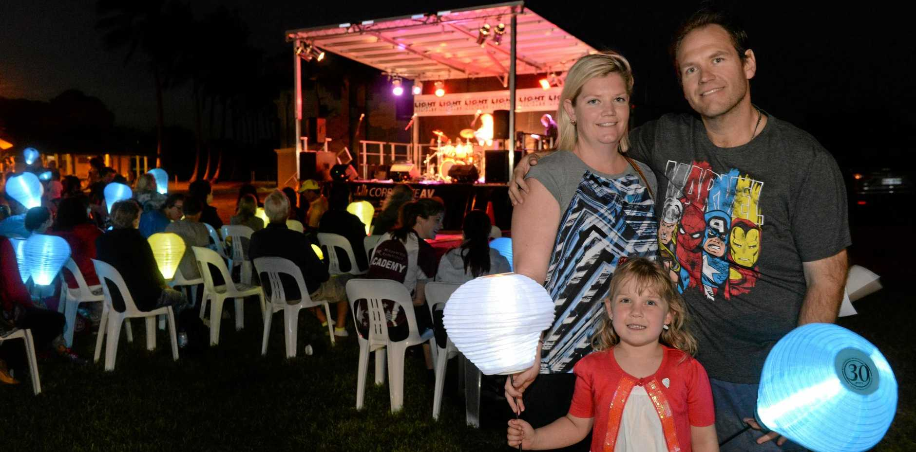 LIGHTING UP: Emma, Ella and Adam Flor at the Leukaemia Foundation's Light The Night event at Nielson Park.