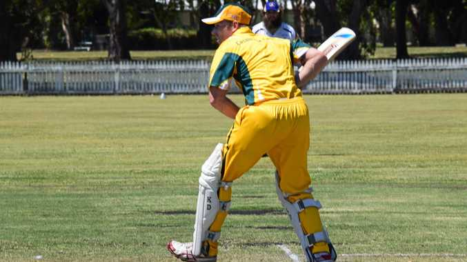 Casino Cavaliers top-order batsman Sam Irvine opening the batting in a Twenty20 game against Marist Brothers at Fripp Oval, Ballina.