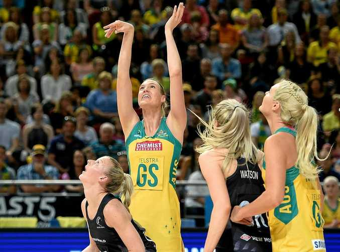Caitlin Bassett of the Diamonds takes a shot at goal during game one of the Constellation Cup netball Test series between Australia and New Zealand in Sydney.