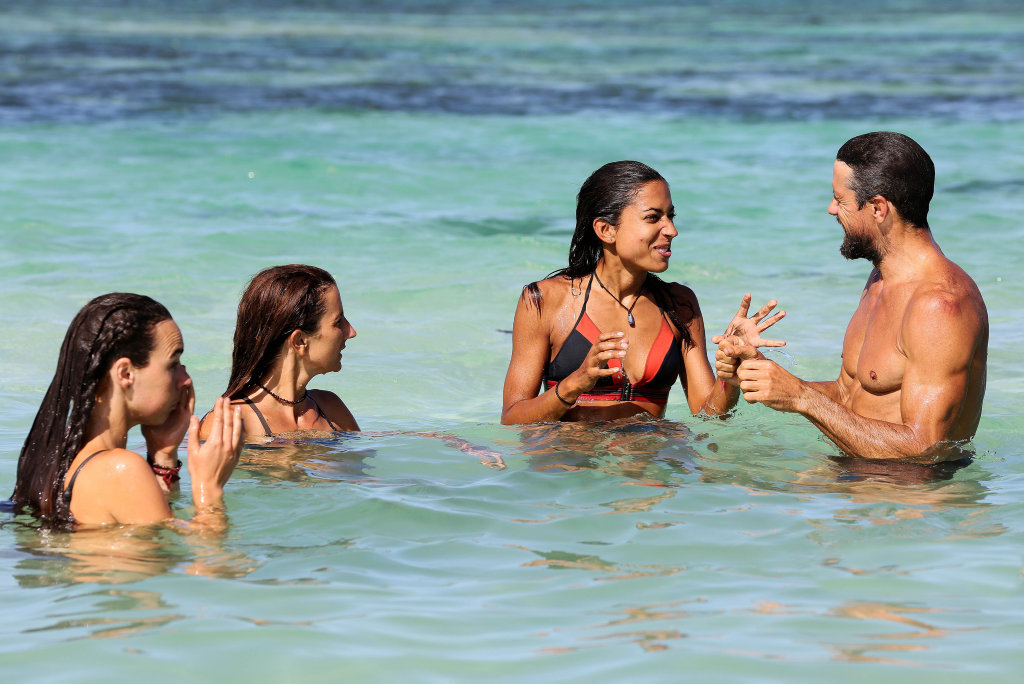 Kristy, El, Brooke and Sam pictured in a scene from Australian Survivor.