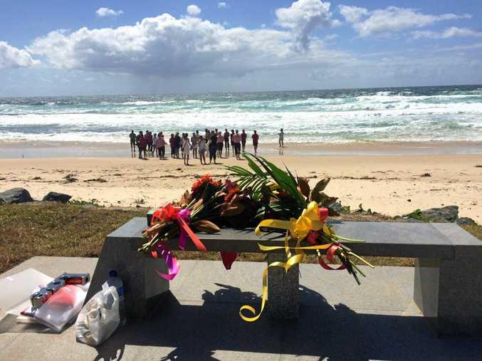 The stone memorial bench built in remembrance of Tadashi Nakahara at Shelly Beach, Ballina