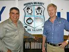 SPECIAL GUEST: Glen Ella and club president Charles Murphy at the Roma Echidnas Rugby Union presentation night on Friday.