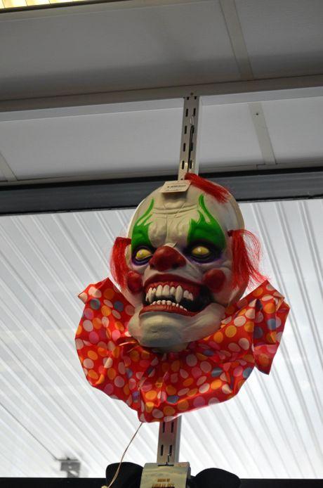 A clown mask at Secret Identity Costume Hire.