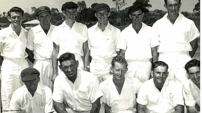John Gleeson (back, left) as part of the Far North Coast cricket team. Country Week, Brisbane, 1955/56