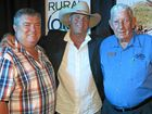 COUNTRY AT HEART: Charles Alder, singer James Blundell and Bert Anderson at the Buy A Bale dinner.