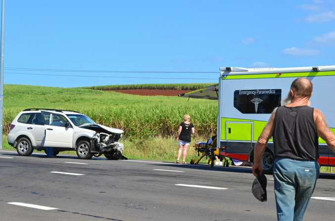 CRASH: The aftermath of the two-car accident at the intersection of the Bruce Highway and Lucketts Rd, Childers on Monday, October 10 2016.