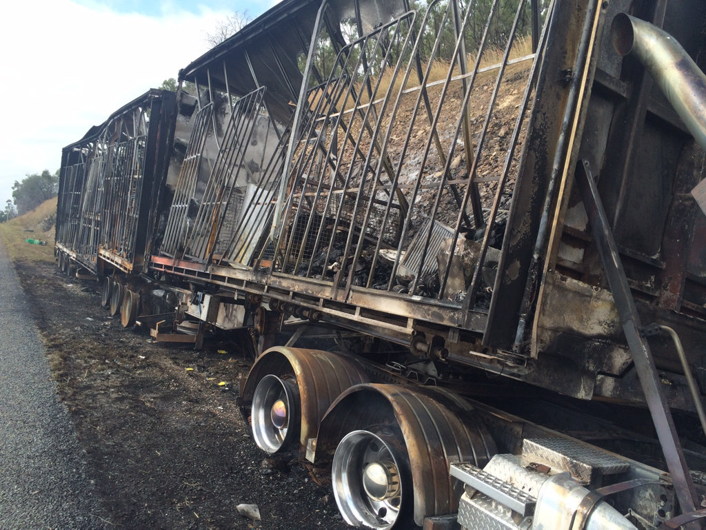 A truck was engulfed in flames on the Bruce Hwy., A truck was engulfed in flames on the Bruce Hwy.