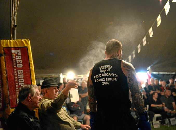 READY TO RUMBLE: Gympie fighter Danny Hawkins prepares to take on all challengers at Burnett Heads recently.