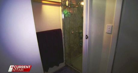 Brownlow hid in this shower while her son attacked Mr Behrendorff.