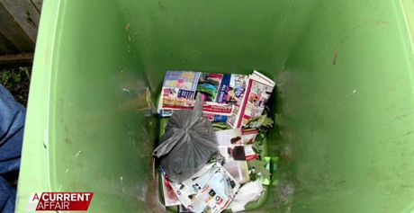 A police photo showing the contents of Brownlow's Housing Commission rubbish bin shortly after the murder. The plastic bag contained Corey Lovell's clothing.