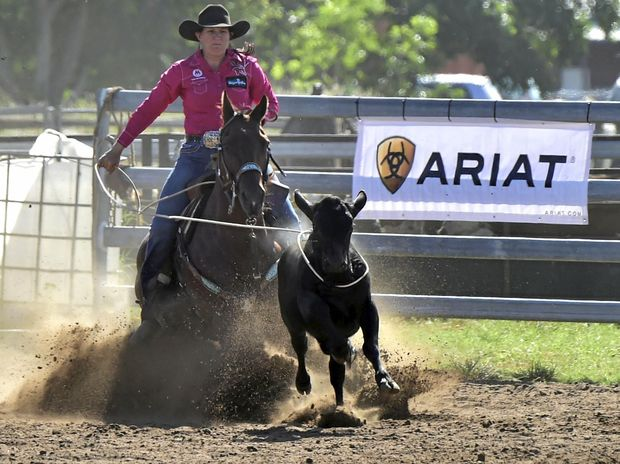 TOUGH COMPETITION: Jorja Iker ropes one in during a breakaway roping competition.