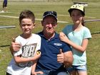 SHOT AT RECOVERY: Rod Dahlheimer with children Noah and Isabella at the Dalby Gun Club fundraiser on Saturday.