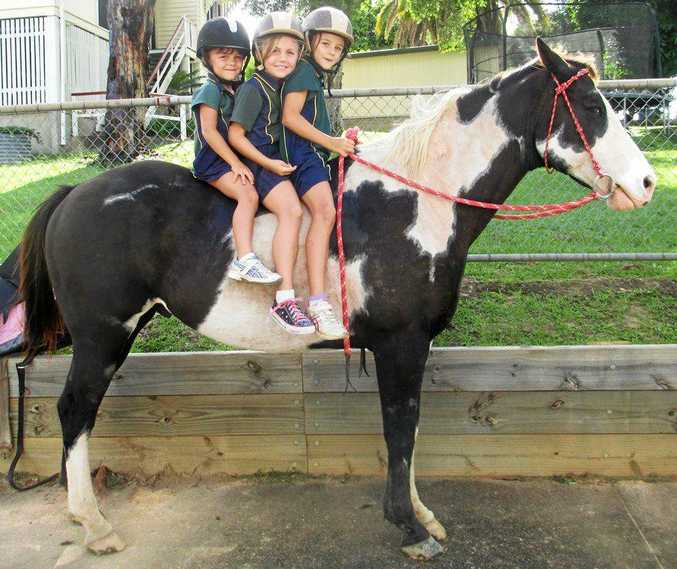 LIVING HISTORY: Times change, but some things stay the same. Little sisters (from left) Claire, Gracie and Lilly Diggins ride their horse home from school once a week, just as many Kin Kin State School students have done over the past 100 years.