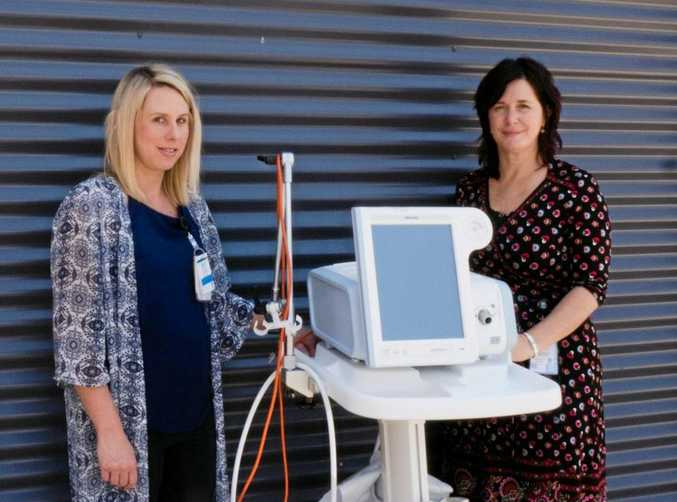 BREATHING EASY: Gympie Hospital nurse unit manager Kimberley Milner and Acting director of nursing Nicole White with the new BiPAP monitor.