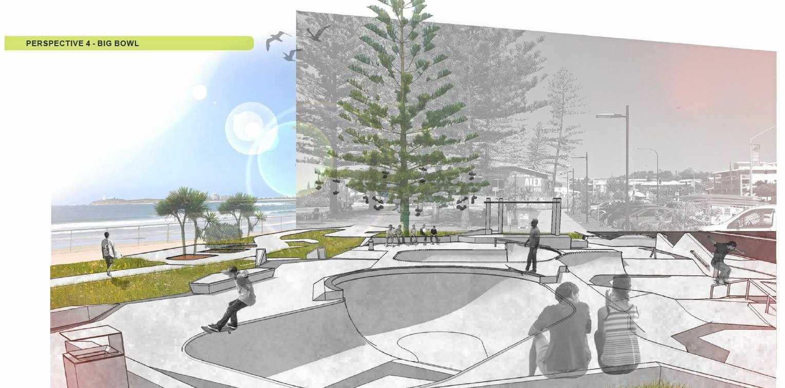 The final designs for Alex skate park.
