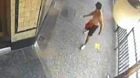 Police want to speak to this man. He is described as around 170cm with short dark hair and was wearing black shorts with a red shirt tucked into them and white running shoes.