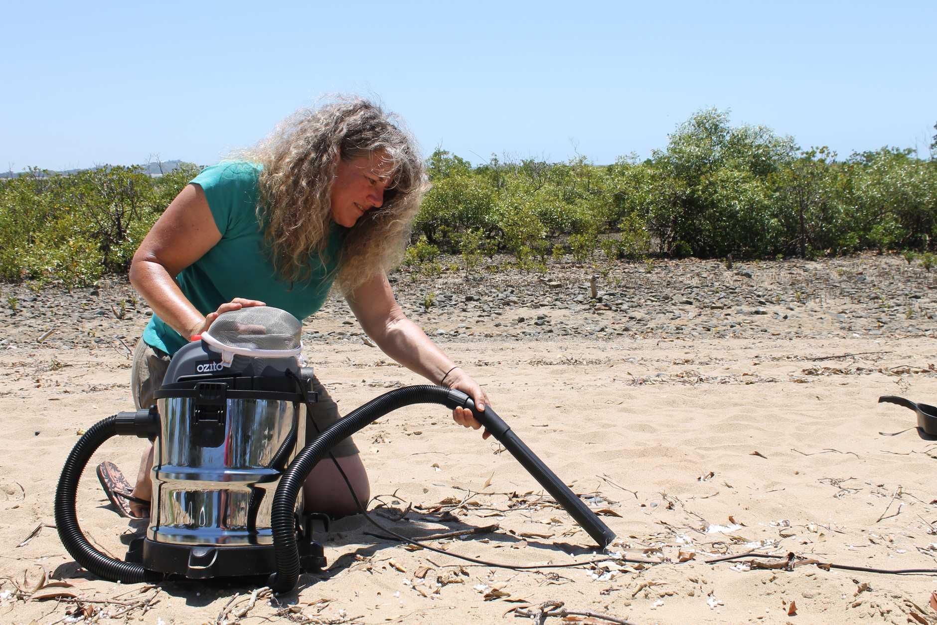 Paula Creen spent her weekend cleaning up styrofoam beanbag balls scattered along a Slade Point beach.