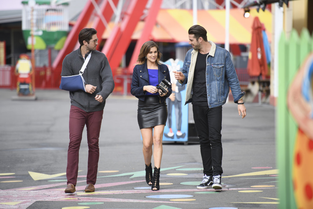 The Bachelorette Georgia Love pictured at Luna Park on her double date with Rhys Chilton, left, and Sam Johnston.