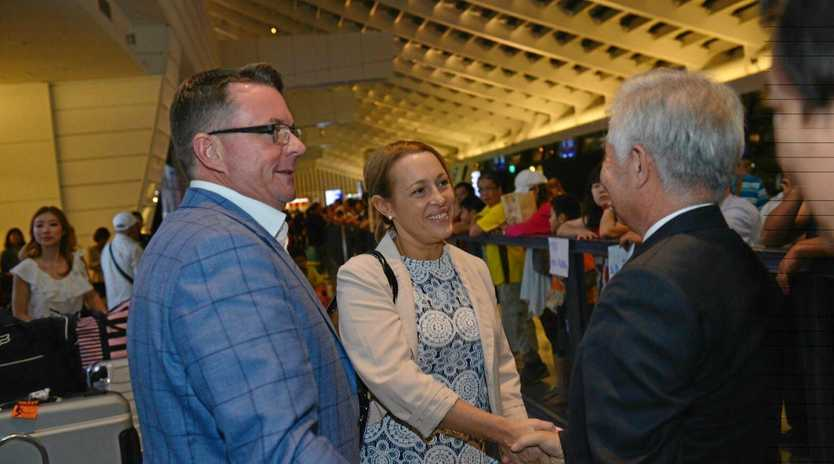 ABOVE BOARD: North Burnett Mayor Rachel Chambers and Logan City Mayor Luke Smith in Taiwan. Cr Chambers is now distancing herself from a political donations scandal involving the Logan mayor.