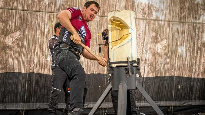 TIMBER CHAMPIONSHIPS: Mt Perry's Brodie Dingle competing at the standing block chop at Bathurst.