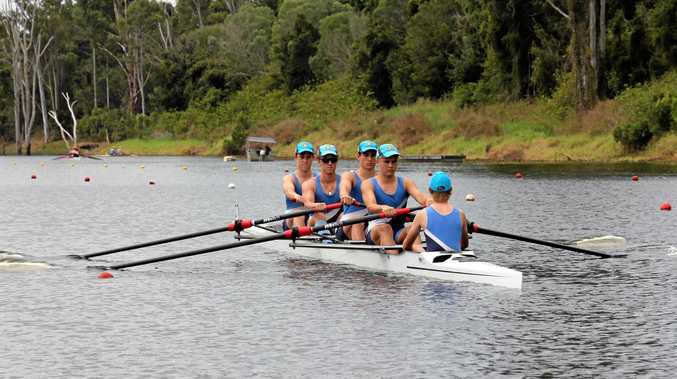 SILVER MEDAL: Bundaberg State High School rowers Travis Reid, Harry Routh, Lang Madle, Connor Lassig and cox Brayden Shield at the Qld Schools Regatta.Photo Contributed
