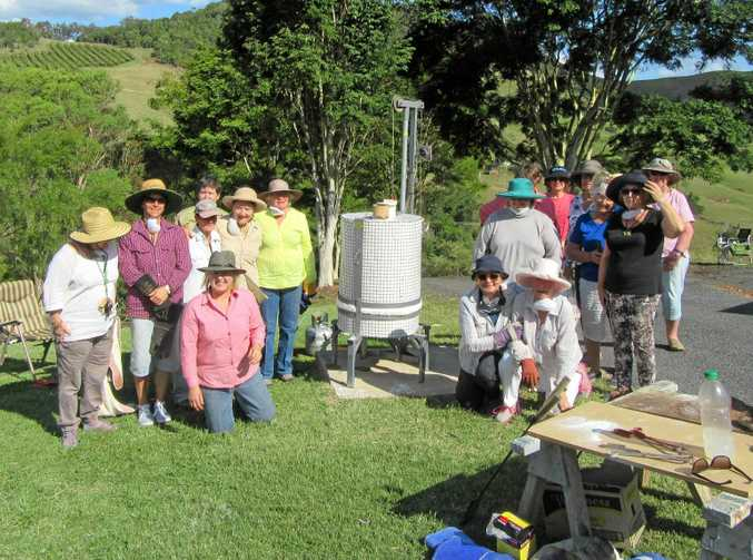 ENTHUSED: Cooloola Potters Group members were on hand for the firing up of their new kiln.