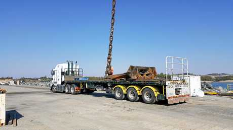 The anchor was loaded on to a truck for transport after it was salvaged.