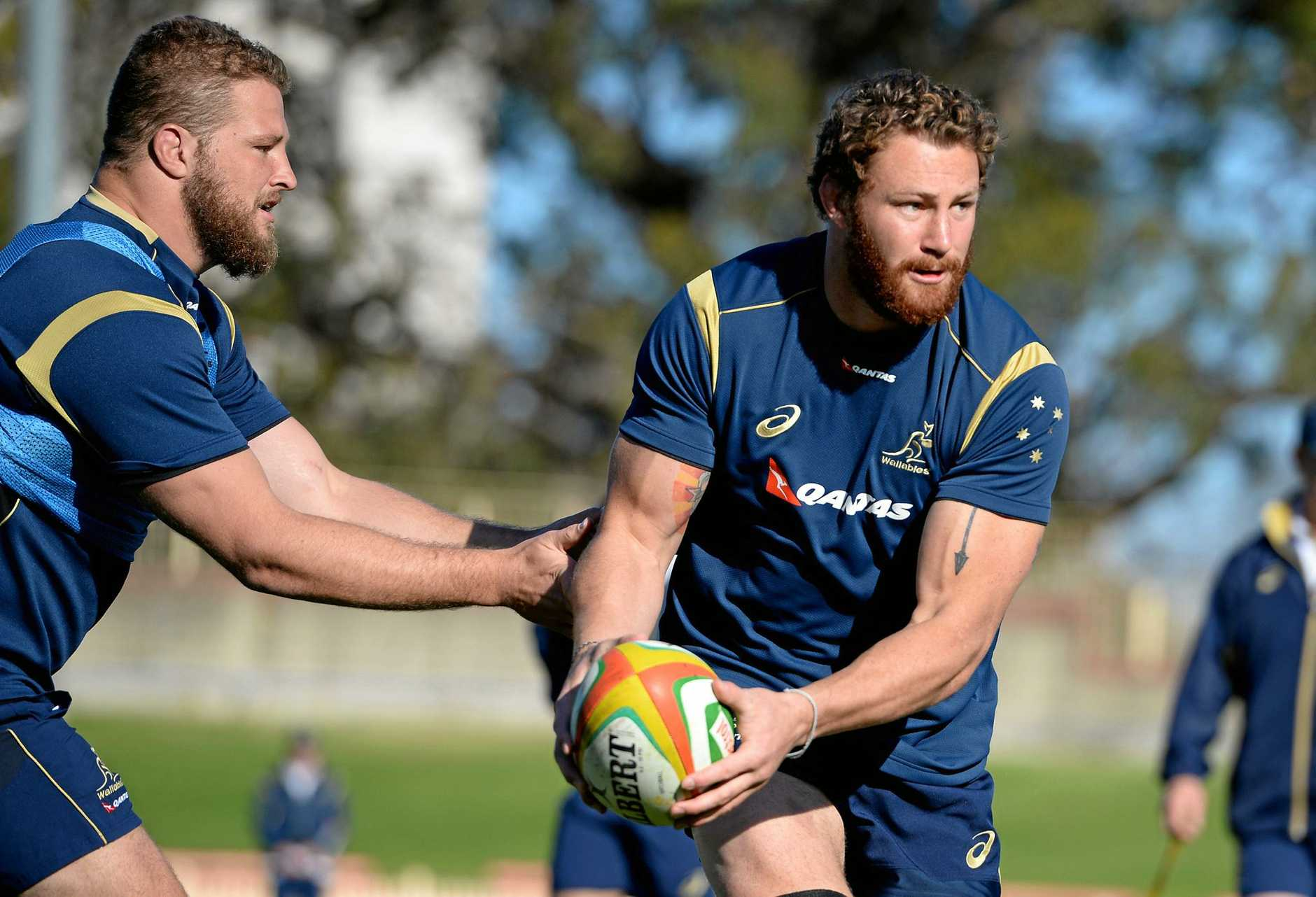 Scott Higginbotham takes part in a Wallabies training session.