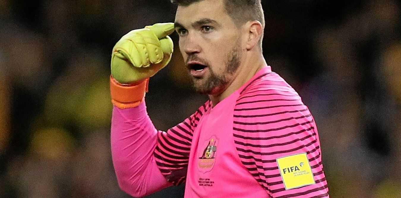 Mathew Ryan of Australia reacts during the World Cup qualifier against Japan at Etihad Stadium.