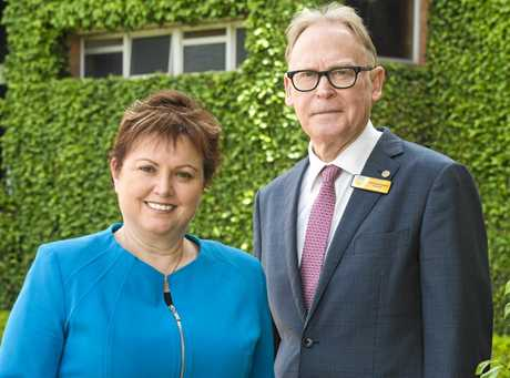 The University of Southern Queensland Vice-Chancellor and President Jan Thomas and Chancellor Mr John Dornbusch.