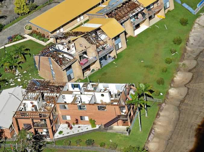 ANYWHERE, ANYTIME: A storm smashed through units in Akeringa Pl, Mooloolaba, in June.