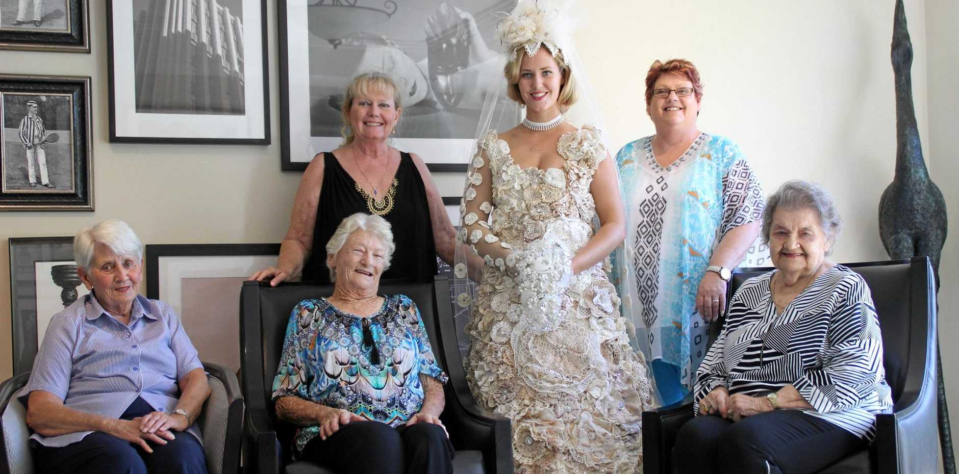 CREATIVE FINGERS: Airlie Meiklejohn, Patricia Winnell, volunteer Lesley Forbes and her daughter Amber, Allison Ferguson and Rita Petersons.