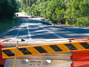 Road repairs on landslip section