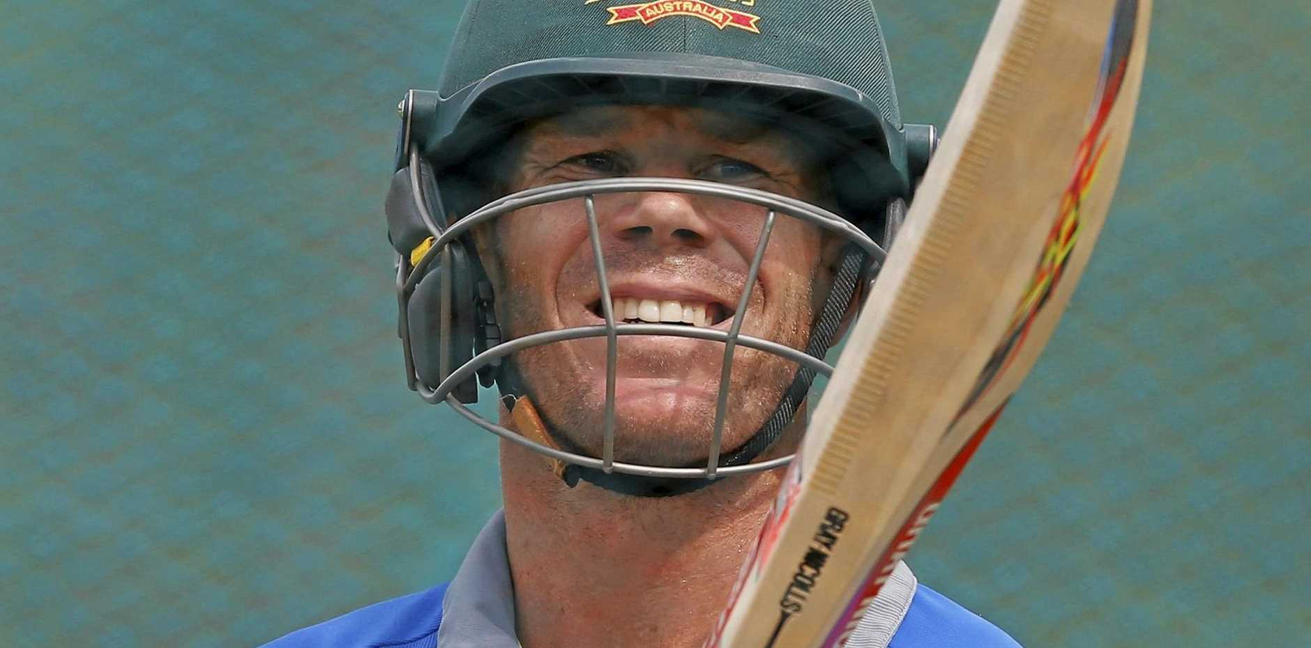 Australian cricketer David Warner during a net session.