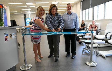 HAIR AND BEAUTY: Robyn Littlejohn, Jodi Schmidt and Paul Wilson at the opening of the newly refurbished TAFE beauty salon.