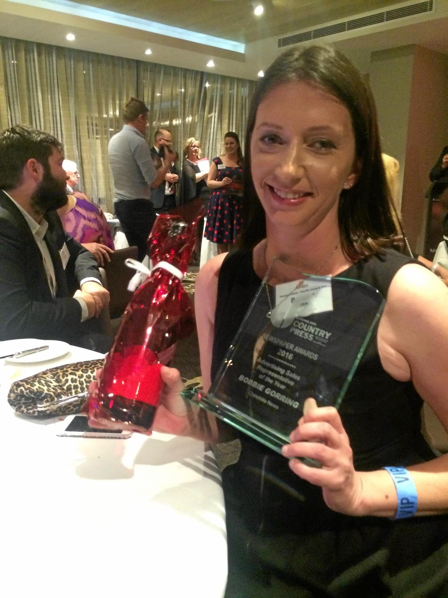 REP OF THE YEAR: Chinchilla News Site Supervisor Bobbie Gorring picked up the award for Advertising Sales Representative of the Year at the Queensland Country Press Associations awards over the weekend.