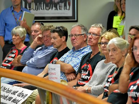 PACKED: The gallery looks on as sand mine opponents attend the Nambour council chambers for the debate and vote yesterday.