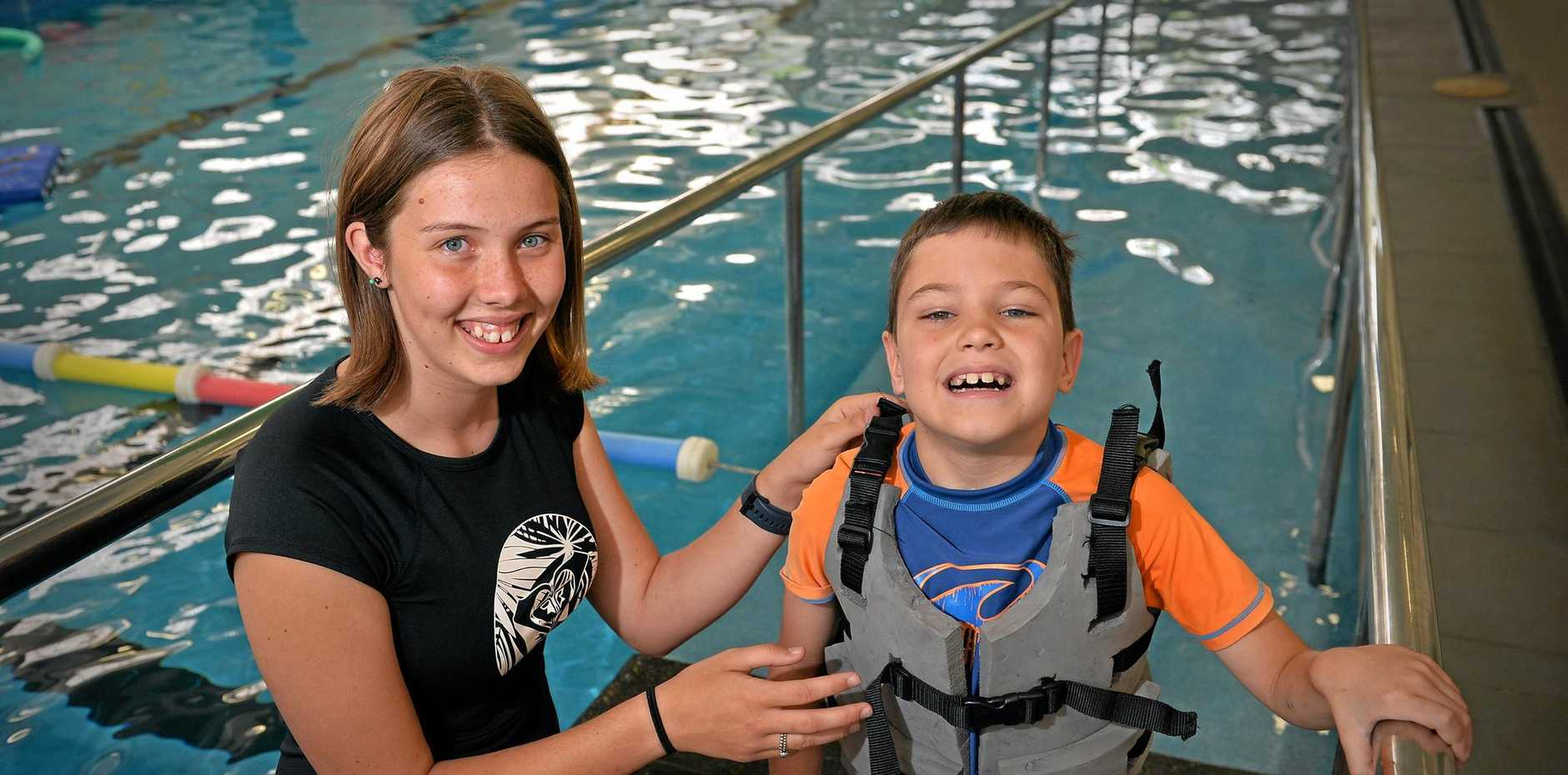 MAKING A SPLASH: Bella Blunt has designed a floatation device to help eight year old Kilani who has limited mobility in his legs.