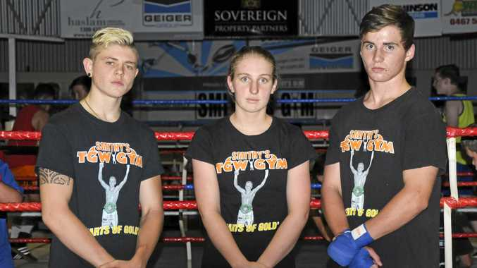 Mel Baker pictured earlier this year at Smithy's TGW Gym with Chris Brackin (left) and Brenton Dierke.