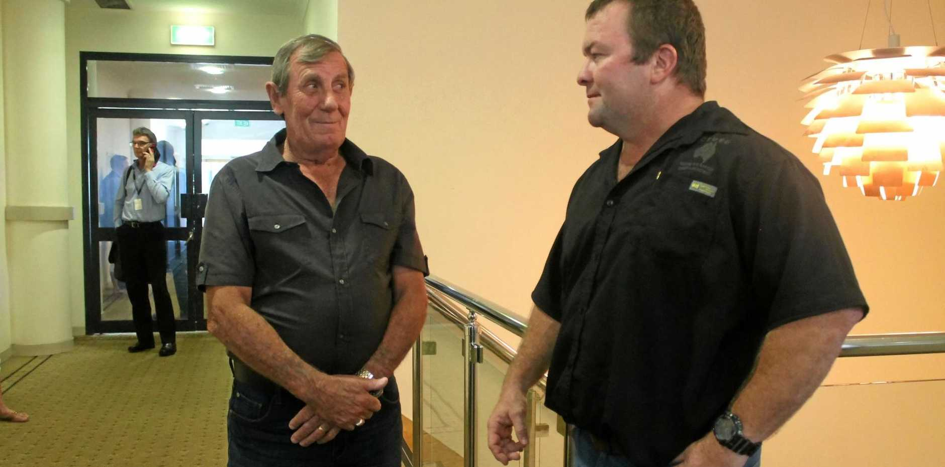 Black lung victim Keith Stoddart and CFMEU district president Stephen Smyth.