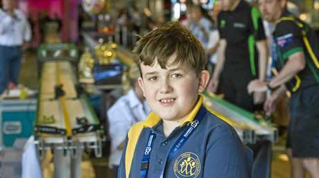 F1 RACER: Roma State College student Jake Kajewski made it to the semi-finals of the F1 in Schools STEM Challenge 2016 Queensland State Finals with his team Neon Flash.