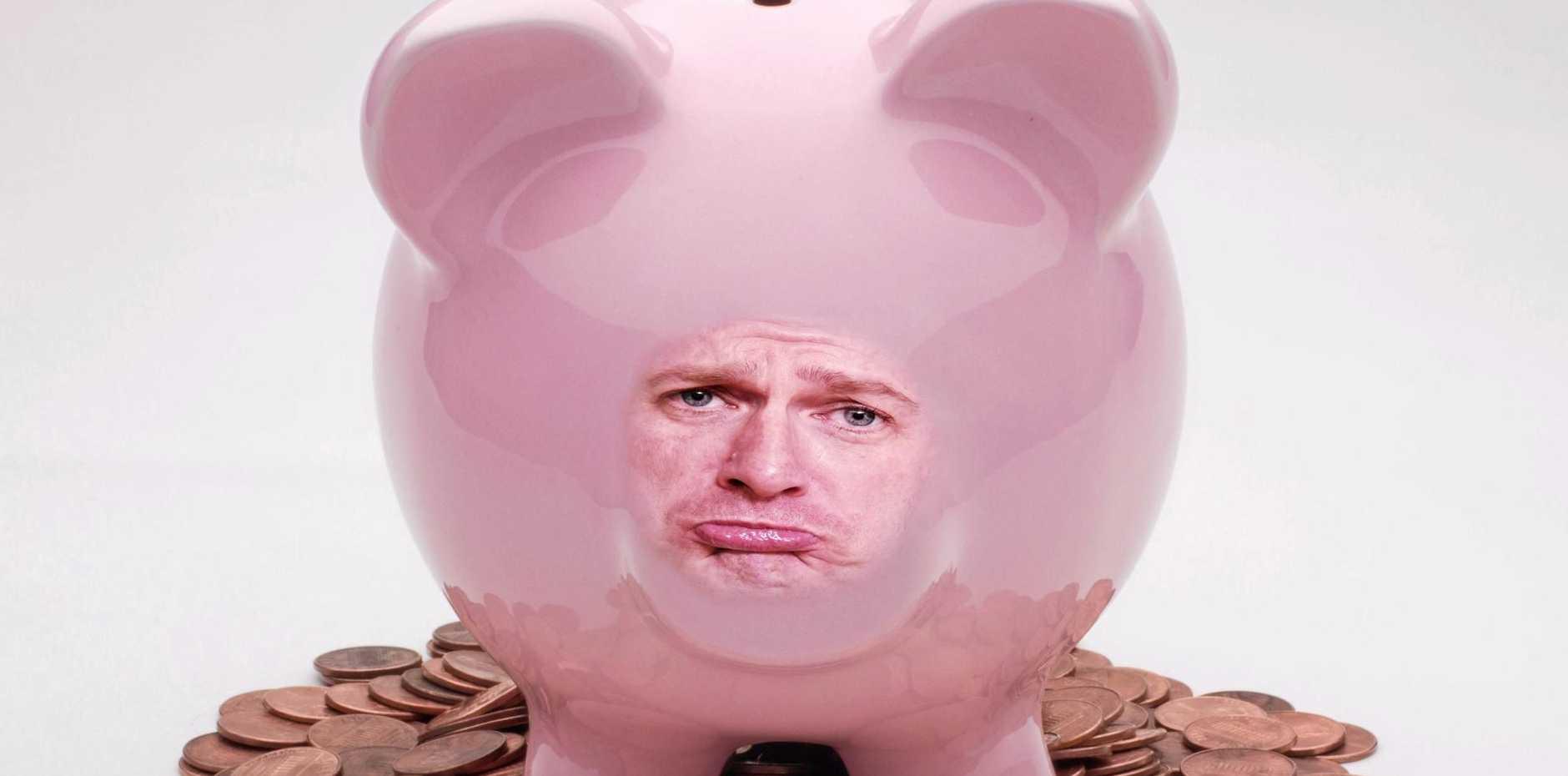 DRAIN YOU: Darren's Piggy Bank is feeling the pain.