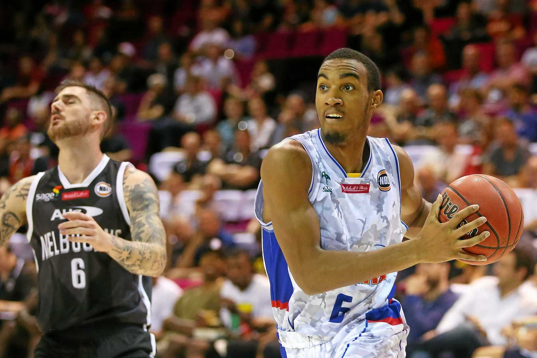 Terrance Ferguson of the Adelaide 36ers drives to the basket.