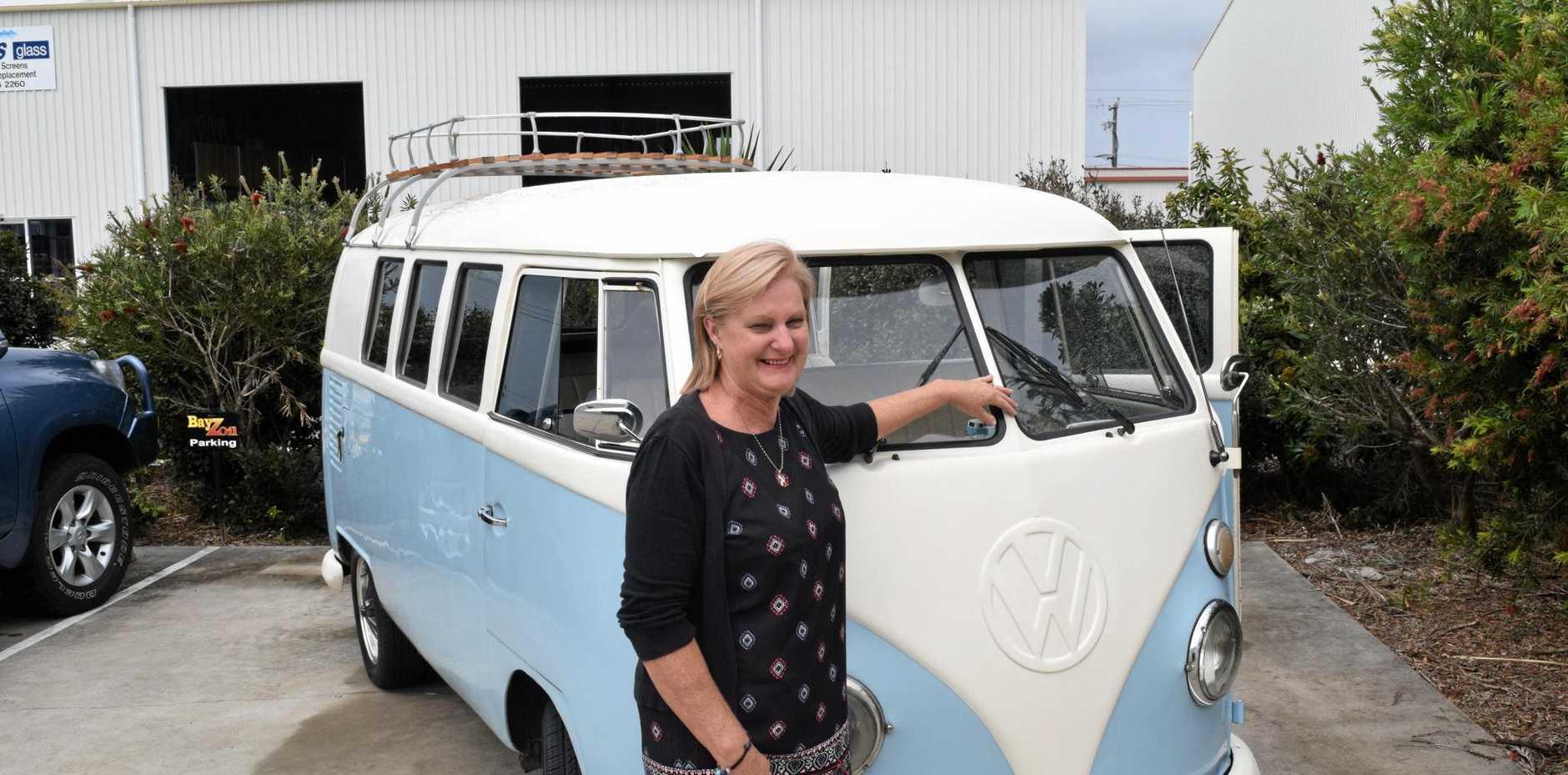BUCKLE UP: Laurel Mole with the Kombi van 'Nelson' in preparation for this weekend's Kombi van cruise.