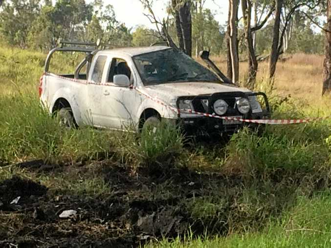 CRASH SCENE: Two boys have been charged after a stolen ute was crashed in Parkhurst yesterday morning.