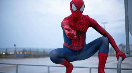 Spiderman has been patrolling Mackay, protecting its citizens from wandering clowns.